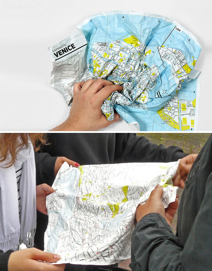 Crumpled City Maps That Are Waterproof And Crumple-Proof