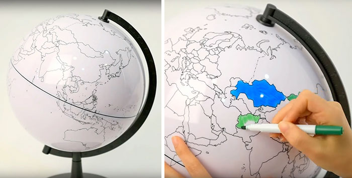 Blank Globe Which Lets You Color In The Places You've Been To