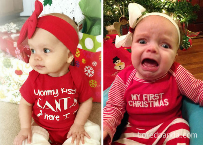 Baby Girl In Her First Christmas Outfit. Nailed It