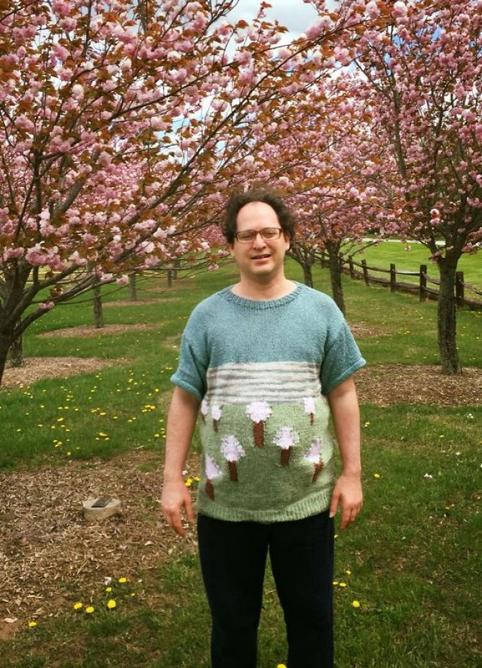 Guy Makes Sweaters Of Places And Then Photographs Himself In