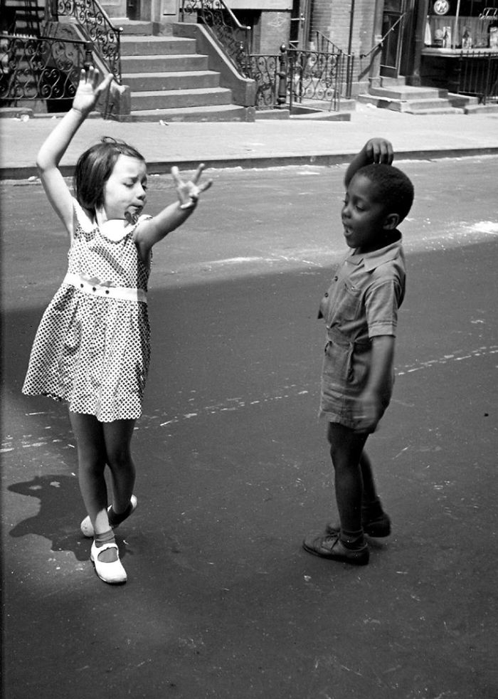 Two Little Kids Dancing On The Streets Of New York City, 1940s