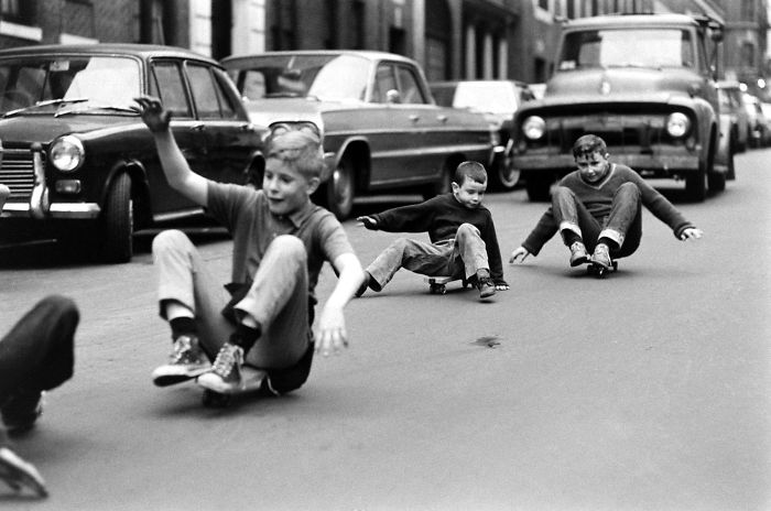 Boys Skateboarding In Streets Of New York, 1960s