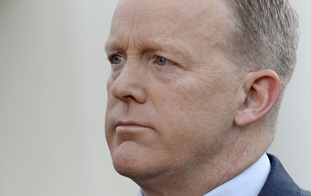 WASHINGTON, DC - APRIL 11: Presidential Press Secretary Sean Spicer apologizes for comments he made suggesting that President Bashar al-Assad of Syria was worse than Hitler, during a TV interview at the White House April 11, 2017 in Washington, DC. Spicer also said incorrectly that Hitler had not used chemical weapons durng World War II. (Photo by Olivier Douliery-Pool/Getty Images)