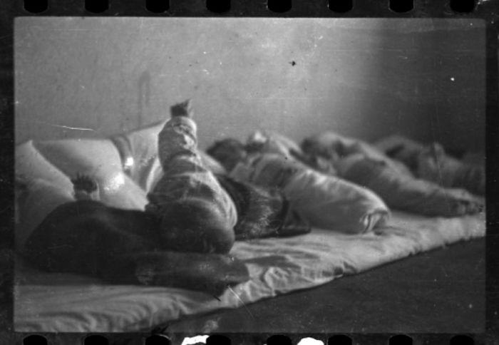 1940-1944: Babies Lying On Floor Mat, Probably In The Hospital Nursery