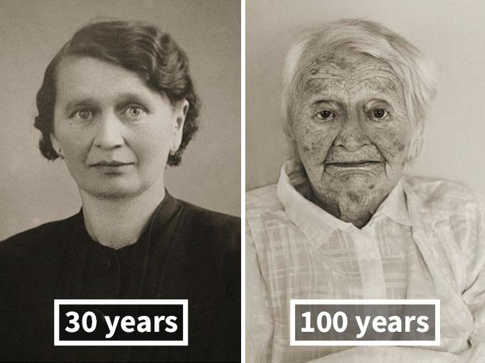Anna Pochobradská, Around 30 Years Old, 100 Years Old