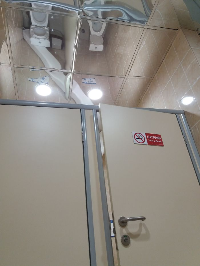 Toilets And Mirror Ceiling