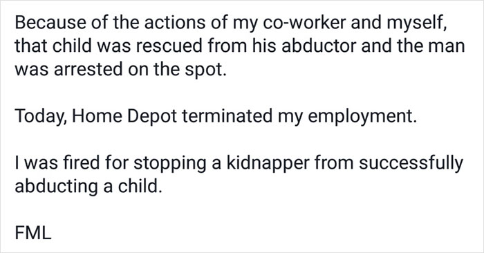Employee Saves Child From Kidnapper, Instead Of Promotion Gets This Letter Saying He's Fired