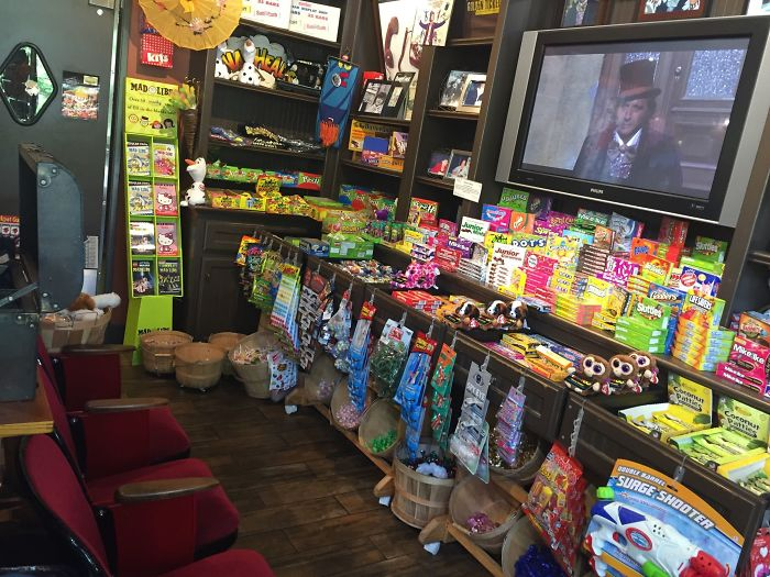 The Candy Shop Near My House Has A Mini Theater Area Where They Play Willy Wonka & The Chocolate Factory On Repeat