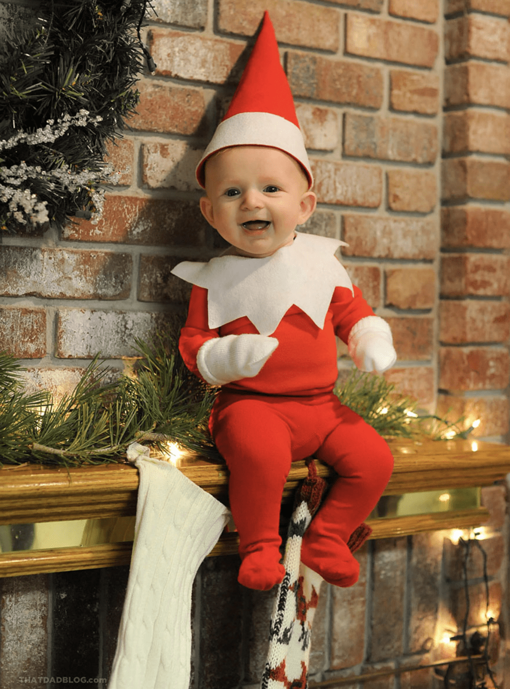 Dad Transforms His Baby Into Real Life Elf On A Shelf